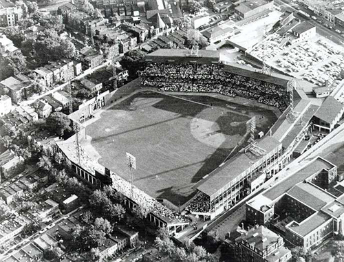 The second link is to a 1966 aerial photograph taken after the stadium was razed.